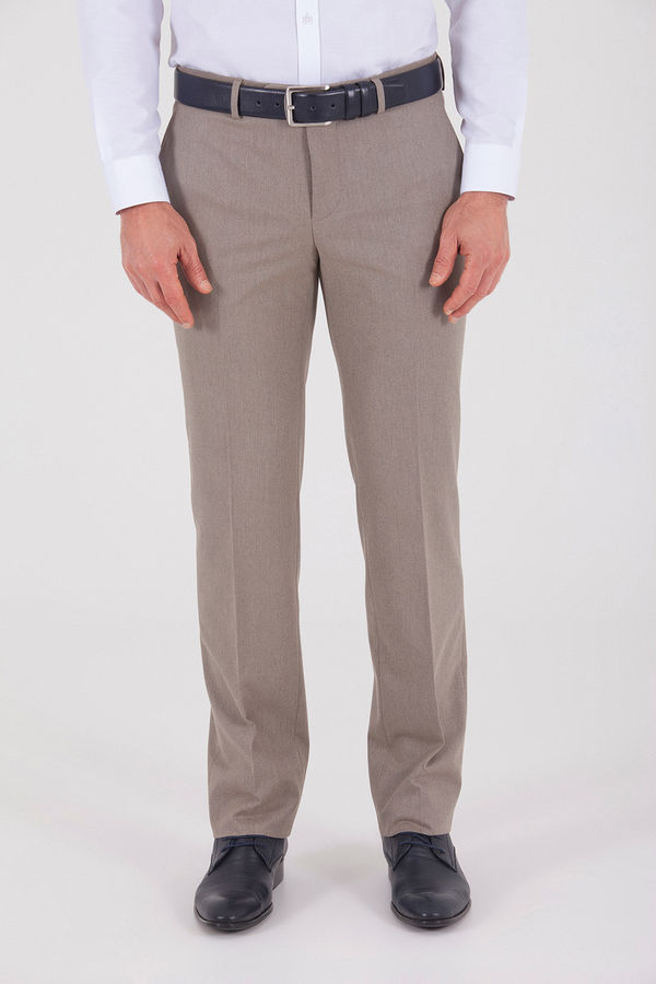 Hatemoğlu - Kahverengi Desenli Slim Fit Pantolon