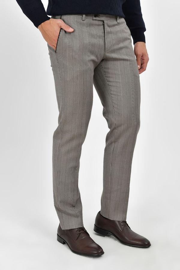 Kahverengi Kareli Slim Fit Pantolon