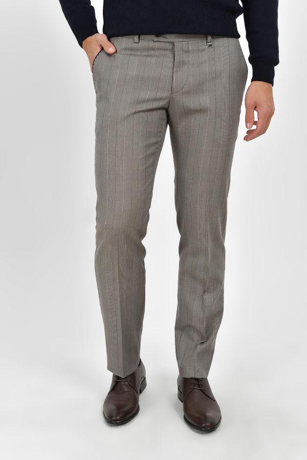 Hatem Saykı - Gri Kareli Slim Fit Yünlü Kumaş Pantolon