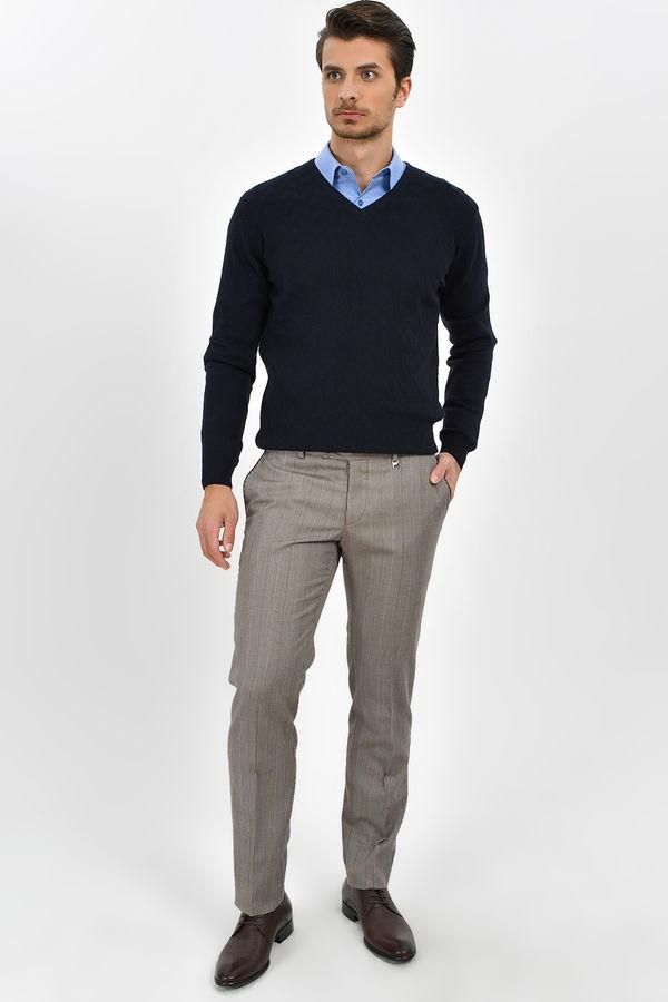 Hatem Saykı - Gri Kareli Slim Fit Yünlü Kumaş Pantolon (1)