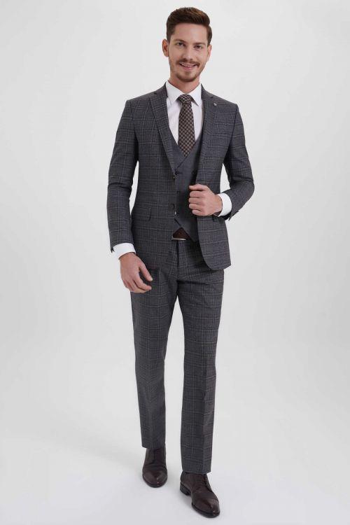 Hatem Saykı - Kahverengi Kareli Slim Fit Takım Elbise