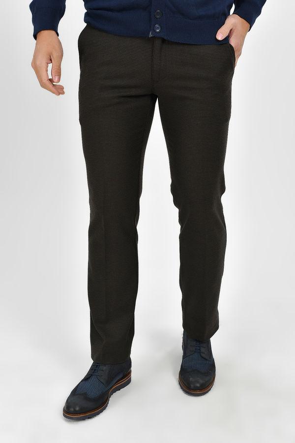 Hatemoğlu - Kahverengi Desenli Regular Pantolon