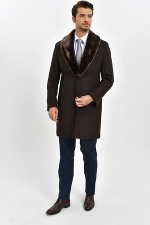 Yakası Kürklü Kahverengi Palto - Thumbnail