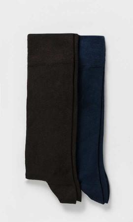 Hatem Saykı - Kahverengi-Lacivert 2'li Çorap