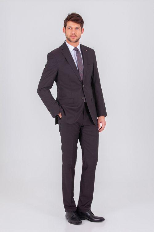 Hatem Saykı - Kahverengi Slim Fit Takım Elbise