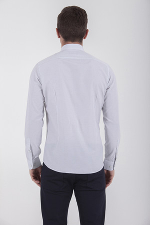 Kareli Slim Fit Lacivert Gömlek - Thumbnail