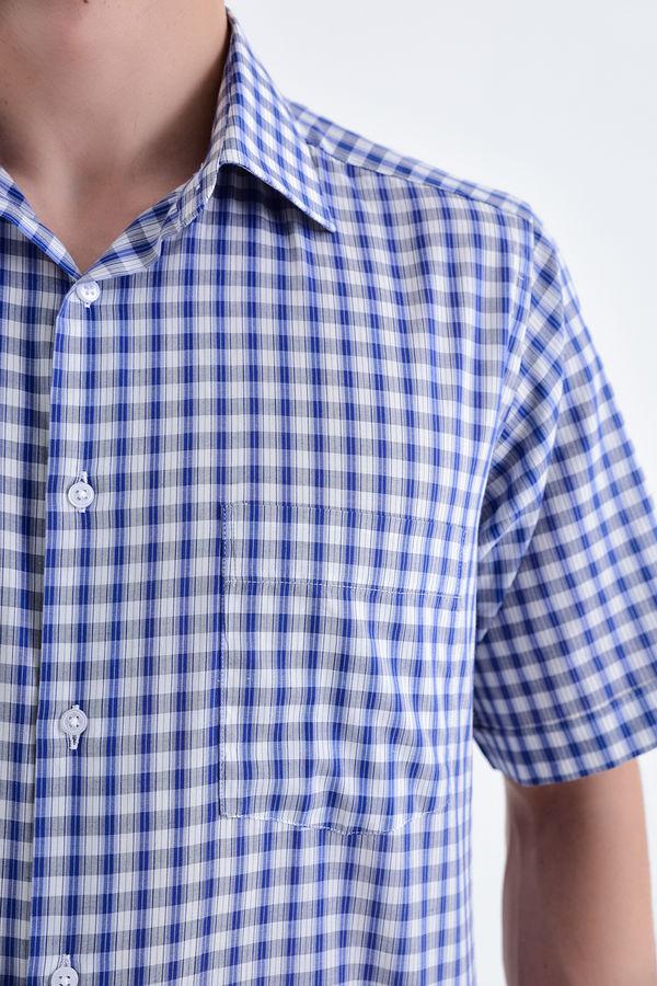 Kareli Gri Kısa Kol Gömlek