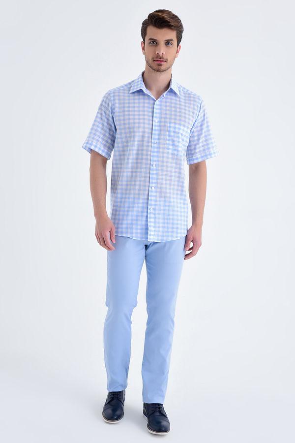 Hatemoğlu - Kareli Kısa Kol Klasik Mavi Gömlek (1)