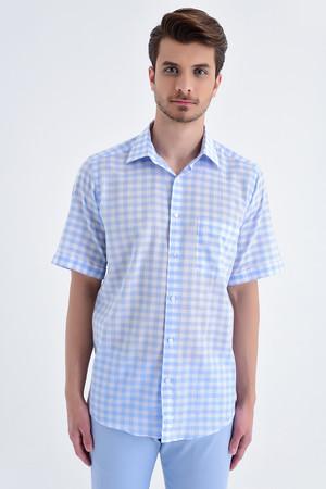 Hatemoğlu - Kareli Kısa Kol Klasik Mavi Gömlek