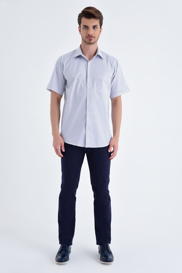 Kareli Kısa Kol Lacivert Gömlek