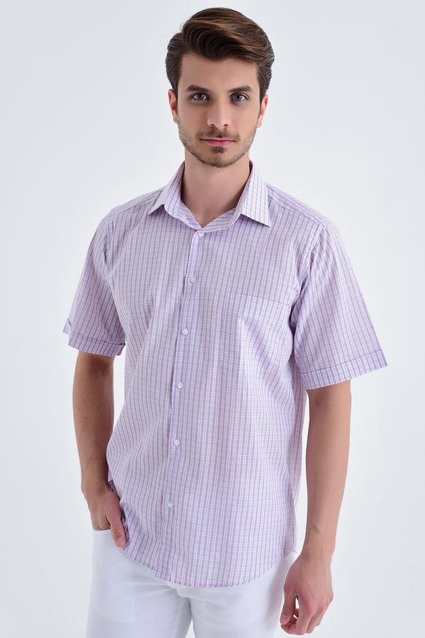 Hatemoğlu - Kareli Kısa Kol Pembe Gömlek