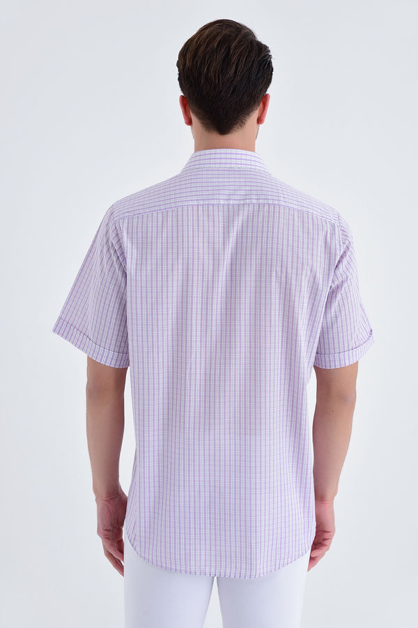 Kareli Kısa Kol Pembe Gömlek
