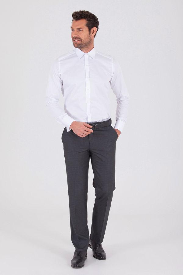 Hatemoğlu - Antrasit Pötikareli Klasik Fit Kumaş Pantolon (1)