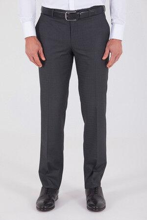 Antrasit Pötikareli Klasik Fit Kumaş Pantolon
