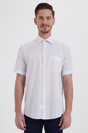 Hatemoğlu - Kısa Kol Beyaz Kareli Klasik Gömlek