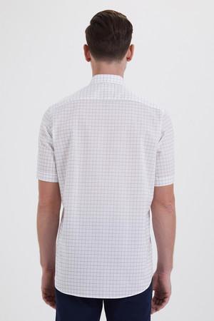 Kareli Klasik Beyaz Gömlek - Thumbnail