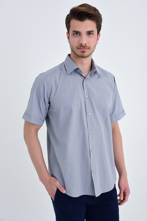 Hatemoğlu - Kareli Klasik Haki Gömlek