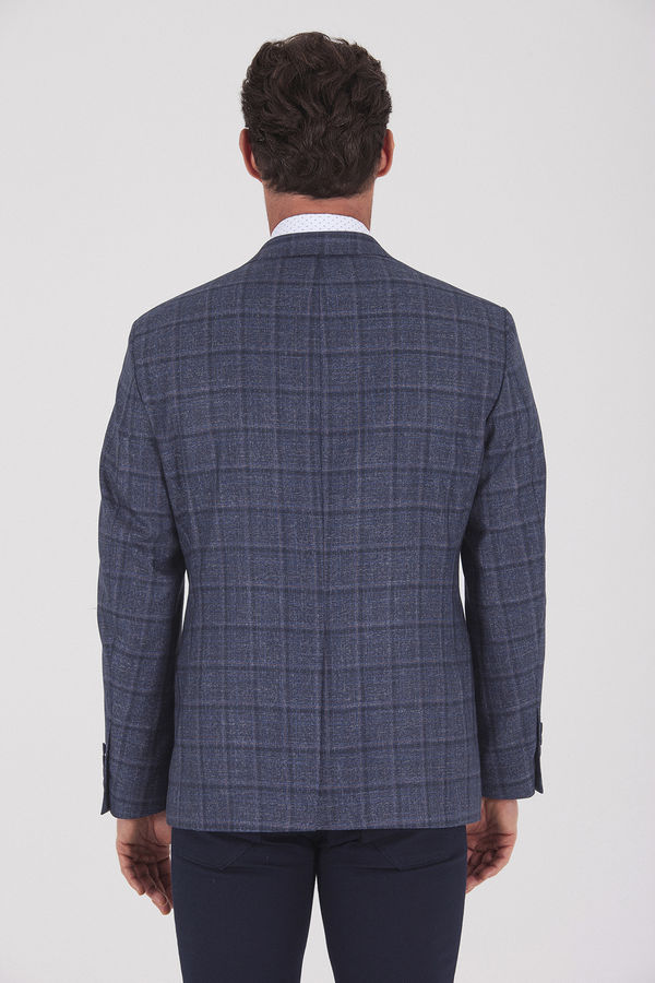 Kareli Klasik Lacivert Ceket