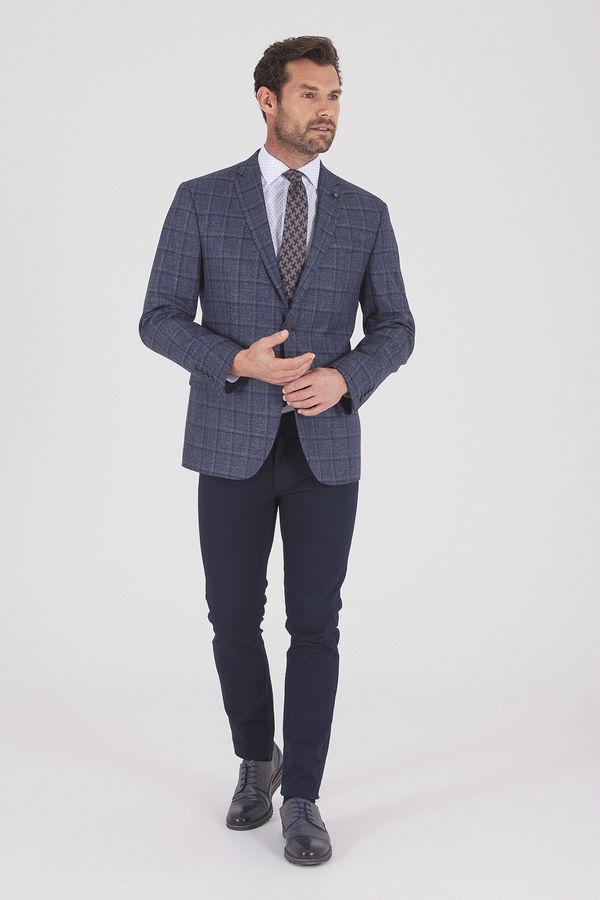 Hatemoğlu - Lacivert Slim Fit Ekose Ceket (1)
