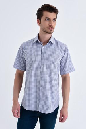 Hatemoğlu - Kareli Klasik Lacivert Gömlek