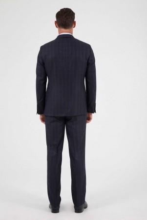 Kareli Klasik Lacivert Takım Elbise - Thumbnail