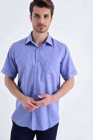 Hatemoğlu - Kısa Kol Mavi Kareli Klasik Gömlek