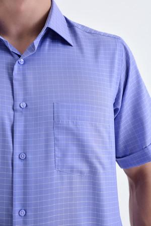 Kısa Kol Mavi Kareli Klasik Gömlek - Thumbnail