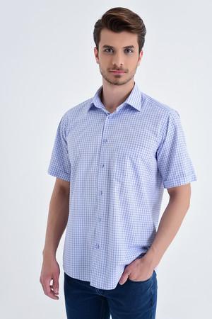 Hatemoğlu - Kısa Kol Kareli Klasik Mavi Gömlek