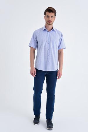 Hatemoğlu - Kısa Kol Kareli Klasik Mavi Gömlek (1)