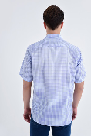 Kısa Kol Kareli Klasik Mavi Gömlek - Thumbnail