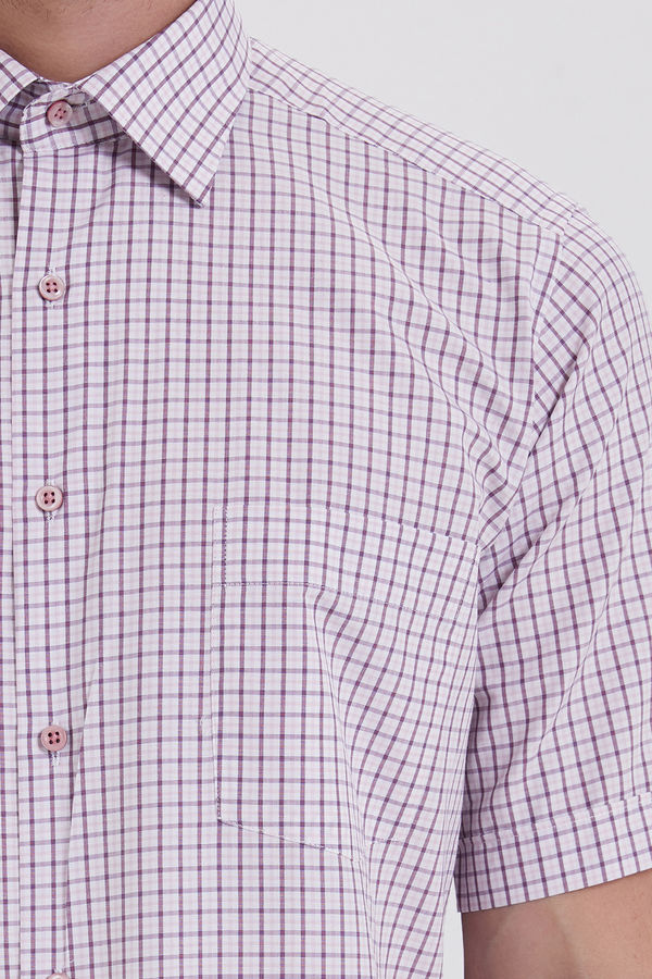 Kısa Kol Kareli Klasik Bordo Gömlek