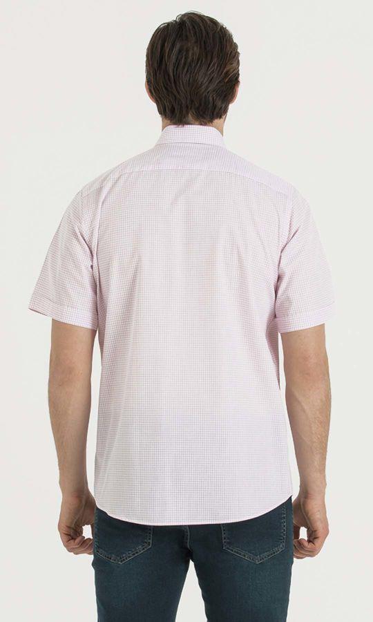 Kareli Klasik Pembe Gömlek