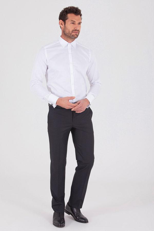Hatemoğlu - Siyah Pötikareli Klasik Fit Kumaş Pantolon (1)