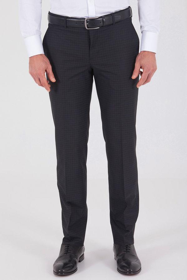 Hatemoğlu - Siyah Pötikareli Klasik Fit Kumaş Pantolon