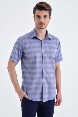 Hatemoğlu - Kareli Regular Lacivert Gömlek