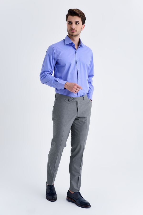 Gri Pötikareli Slim Fit Kumaş Pantolon