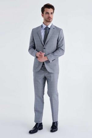 HTML - Kareli Slim Fit Gri Takım Elbise