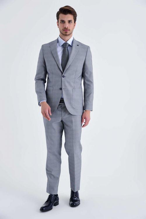 HTML - Kareli Slim Fit Gri Takım Elbise (1)