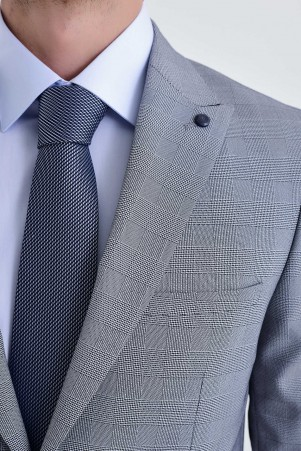 Kareli Slim Fit Gri Takım Elbise - Thumbnail