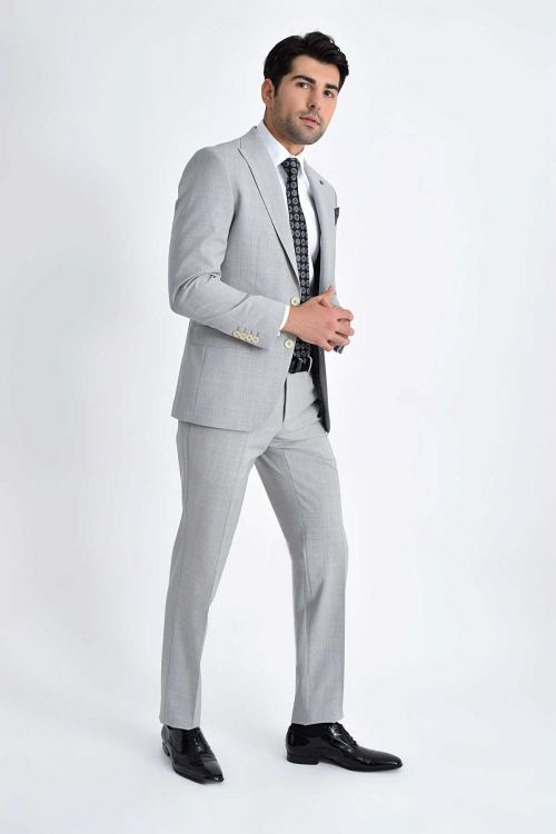 Kareli Slim Fit Gri Takım Elbise
