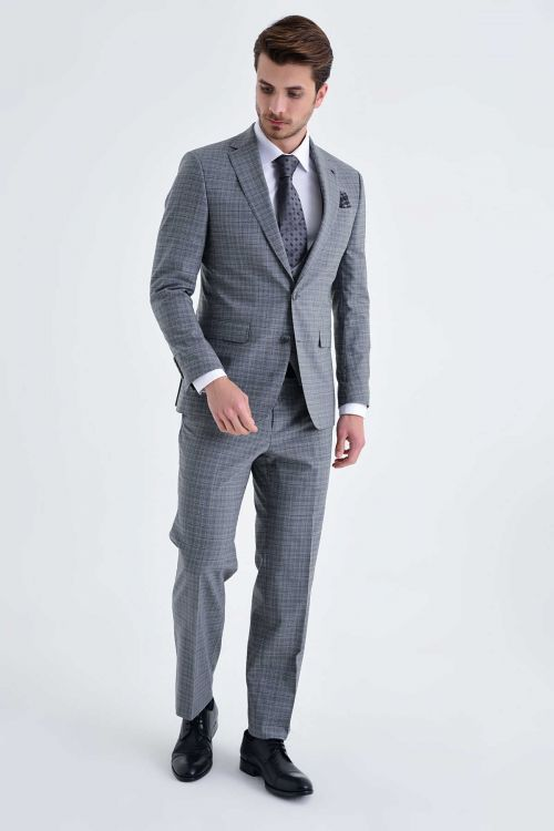 Hatem Saykı - Gri Kareli Slim Fit Yelekli Takım Elbise (1)