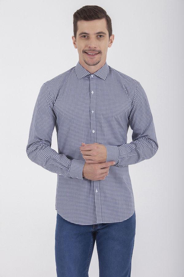 Hatem Saykı - Kareli Slim Fit Lacivert Gömlek