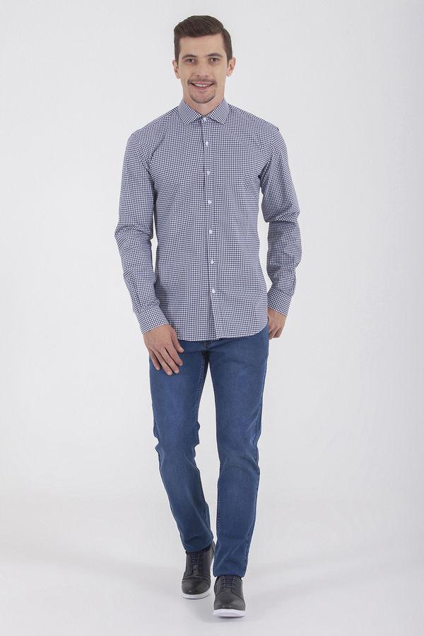 Hatem Saykı - Kareli Slim Fit Lacivert Gömlek (1)