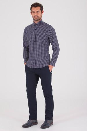 Hatemoğlu - Kareli Slim Fit Lacivert Gömlek (1)