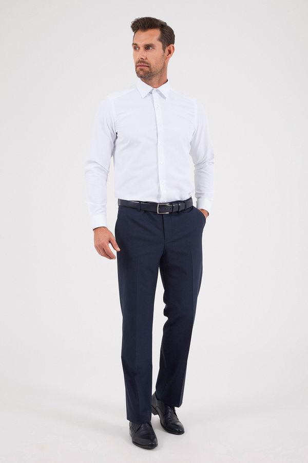 Hatem Saykı - Kareli Slim Fit Lacivert Pantolon (1)