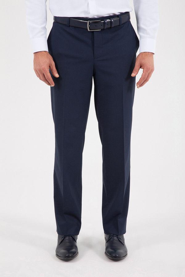 Hatem Saykı - Kareli Slim Fit Lacivert Pantolon