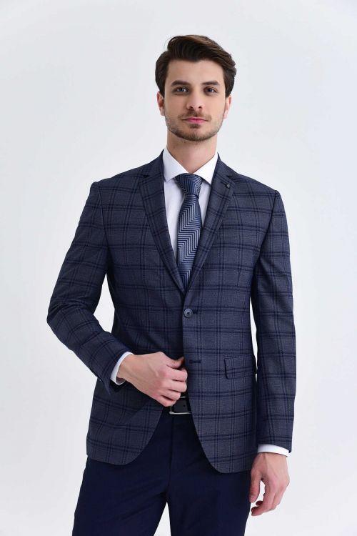 Kareli Slim Fit Lacivert Takım Elbise