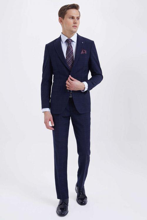 Hatem Saykı - Lacivert Kareli Slim Fit Takım Elbise