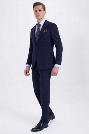 Hatem Saykı - Lacivert Kareli Slim Fit Takım Elbise (1)