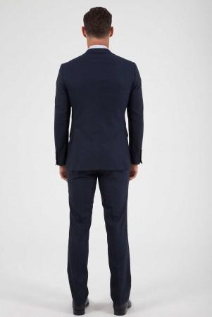 Kareli Slim Fit Lacivert Takım Elbise - Thumbnail